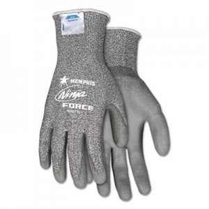 MCR Safety CRWN9677L Ninja Force Polyurethane Coated Gloves, Large, Gray, Pair