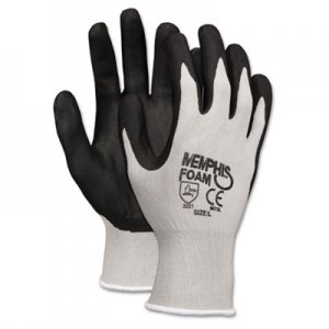Memphis 9673S Economy Foam Nitrile Gloves, Small, Gray/Black, 12 Pairs CRW9673S