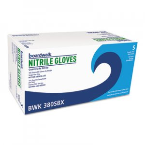 Boardwalk BWK380SBX Disposable General-Purpose Nitrile Gloves, Small, Blue, 100/Box