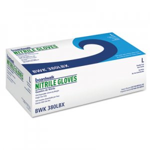 Boardwalk BWK380LBX Disposable General-Purpose Nitrile Gloves, Large, Blue, 100/Box