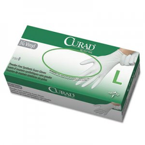 Curad MII6CUR8236 3G Synthetic Vinyl Exam Gloves, Powder-Free, Large, 100/Box
