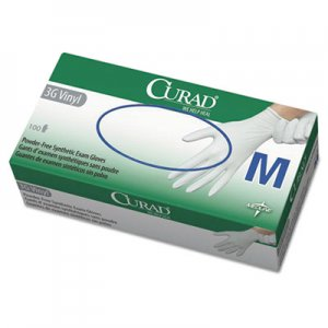 Curad MII6CUR8235 3G Synthetic Vinyl Exam Gloves, Powder-Free, Medium, 100/Box