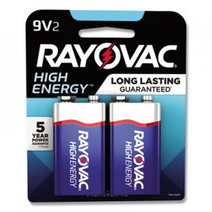 Rayovac RAYA16042K High Energy Premium Alkaline Battery, 9V, 2/Pack