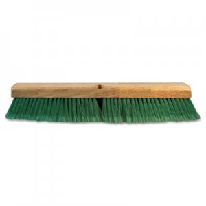 "Boardwalk BWK20724 Push Broom Head, 3"" Green Flagged Recycled PET Plastic, 24"""