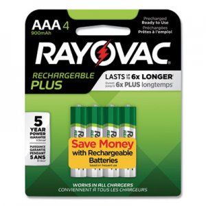Rayovac RAYPL7244GEND Recharge Plus NiMH Batteries, AAA, 4/Pack