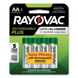 Rayovac RAYPL7154GEND Recharge Plus NiMH Batteries, AA, 4/Pack