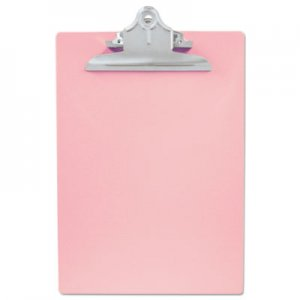 "Saunders SAU21800 Recycled Plastic Clipboard with Ruler Edge, 1"" Clip Cap, 8 1/2 x 12 Sheets, Pink"