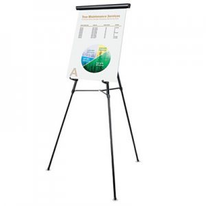 "Genpak UNV43150 3-Leg Telescoping Easel with Pad Retainer, Adjusts 34"" to 64"", Aluminum, Black"