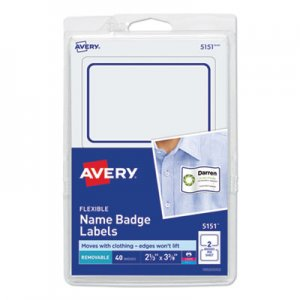 Avery AVE5151 Flexible Self-Adhesive Laser/Inkjet Badge Labels, 2 1/3 x 3 3/8, BE, 40/PK