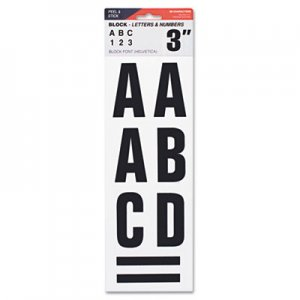 "COSCO COS098132 Letters, Numbers & Symbols, Adhesive, 3"", Black"