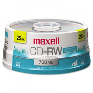 Maxell 630026 CD-RW Discs, 700MB/80min, 4x, Spindle, Silver, 25/Pack MAX630026