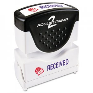 ACCUSTAMP2 COS035537 Pre-Inked Shutter Stamp with Microban, Red/Blue, RECEIVED, 1 5/8 x 1/2