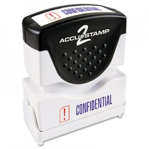 ACCUSTAMP2 COS035536 Pre-Inked Shutter Stamp with Microban, Red/Blue, CONFIDENTIAL, 1 5/8 x 1/2