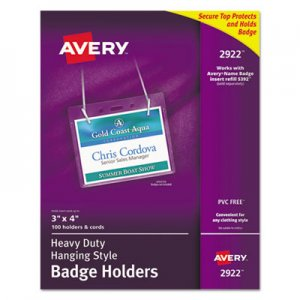 Avery 2922 Secure Top Hanging-Style Badge Holders, Horizontal, 4w x 3h, Clear, 100/Box AVE2922