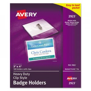 Avery 2923 Secure Top Clip-Style Badge Holders, Horizontal, 4 x 3, Clear, 100/Box AVE2923