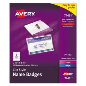 Avery 74461 Badge Holder Kit w/Laser/Inkjet Insert, Top Load, 2 1/4 x 3 1/2, White, 100
