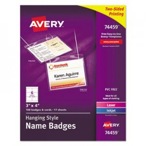 Avery 74459 Neck Hang Badge Holder w/Laser/Inkjet Insert, Top Load, 3 x 4, White, 100/BX AVE74459