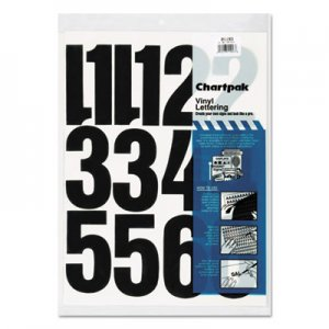 "Chartpak 01193 Press-On Vinyl Numbers, Self Adhesive, Black, 4""h, 23/Pack CHA01193"