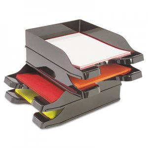 deflecto 63904 Docutray Multi-Directional Stacking Tray Set, Two Tier, Polystyrene, Black DEF63904