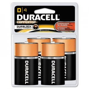 Duracell MN1300R4Z CopperTop Alkaline Batteries with Duralock Power Preserve Technology, D, 4/Pk DURMN1300R4Z