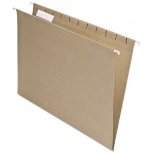 Pendaflex 74542 Earthwise Recycled Colored Hanging File Folders, 1/5 Tab, Letter, Natural, 25/BX PFX74542
