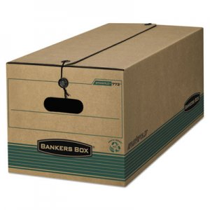 Bankers Box 00773 STOR/FILE Extra Strength Storage Box, Letter, String/Button, Kraft/Green, 12/CT FEL00773