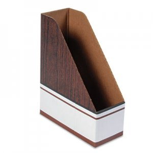 Bankers Box 07223 Corrugated Cardboard Magazine File, 4 x 9 x 11 1/2, Wood Grain, 12/Carton FEL07223