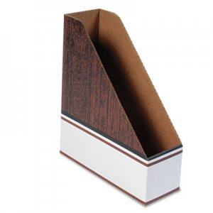 Bankers Box 07224 Corrugated Cardboard Magazine File, 4 x 11 x 12 3/4, Wood Grain, 12/Carton FEL07224