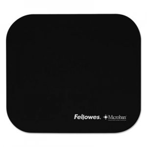 Fellowes 5933901 Mouse Pad w/Microban, Nonskid Base, 9 x 8, Black FEL5933901