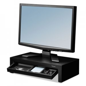Fellowes 8038101 Adjustable Monitor Riser with Storage Tray, 16 x 9 3/8 x 6, Black Pearl FEL8038101