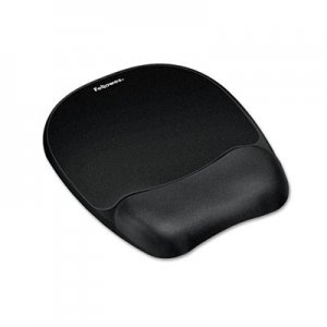 Fellowes 9176501 Mouse Pad w/Wrist Rest, Nonskid Back, 7 15/16 x 9 1/4, Black FEL9176501