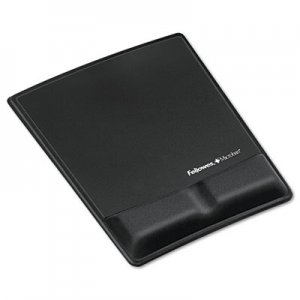 Fellowes 9181201 Memory Foam Wrist Support w/Attached Mouse Pad, Black FEL9181201