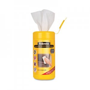 "Fellowes 99703 Screen Cleaning Wet Wipes, 5.12"" x 5.90"", 100/Tub FEL99703"