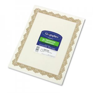 Geographics 39451 Parchment Paper Certificates, 8-1/2 x 11, Optima Gold Border, 25/Pack GEO39451