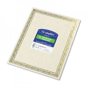 Geographics 44407 Foil Stamped Award Certificates, 8-1/2 x 11, Gold Serpentine Border, 12/Pack GEO44407