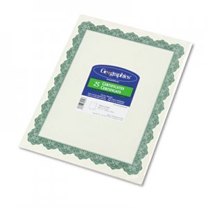 Geographics 39452 Parchment Paper Certificates, 8-1/2 x 11, Optima Green Border, 25/Pack GEO39452