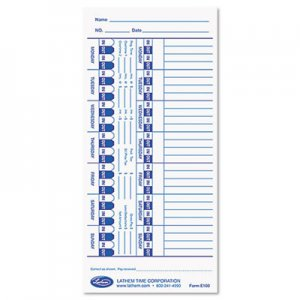Lathem Time E100 Time Card for Lathem Models 900E/1000E/1500E/5000E, White, 100/Pack LTHE100