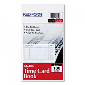 Rediform 4K406 Employee Time Card, Daily, Two-Sided, 4-1/4 x 7, 100/Pad RED4K406