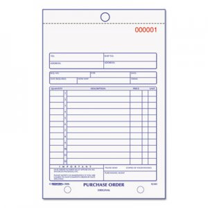 Rediform 1L141 Purchase Order Book, Bottom Punch, 5 1/2 x 7 7/8, 3-Part Carbonless, 50 Forms RED1L141
