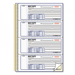Rediform 8L810 Money Receipt Book, 7 x 2 3/4, Carbonless Duplicate, Twin Wire, 300 Sets/Book RED8L810