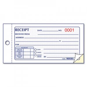 Rediform 8L820 Small Money Receipt Book, 5 x 2 3/4, Carbonless Duplicate, 50 Sets/Book RED8L820