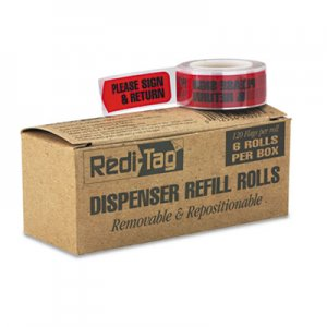 "Redi-Tag RTG91037 Arrow Message Page Flag Refills, ""Please Sign & Return"", Red, 120/Roll, 6 Rolls"