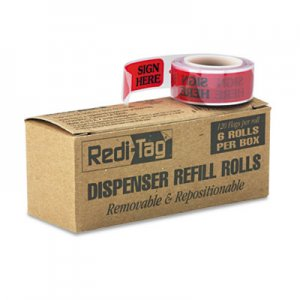 "Redi-Tag 91002 Arrow Message Page Flag Refills, ""Sign Here"", Red, 6 Rolls of 120 Flags/Box RTG91002"