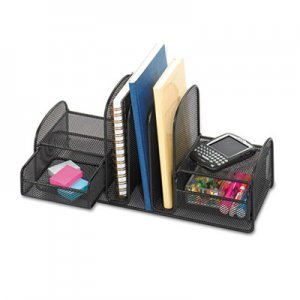 Safco 3263BL Onyx Mesh Desk Organizer, Three Sections/Two Baskets, 17 x 6 3/4 x 7 3/4, Black