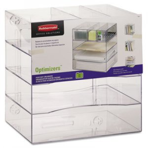 Rubbermaid Commercial 94600ROS Optimizers Four-Way Organizer with Drawers, Plastic, 10 x 13 1/4 x 13 1/4, Clear