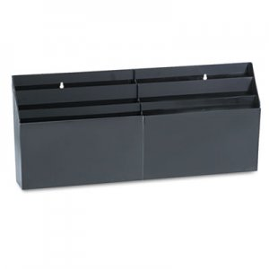 "Rubbermaid Commercial 96060ROS Optimizers Six-Pocket Organizer, 26 21/32"" x 3 4/5"" x 11 9/16"", Black RUB96060ROS"