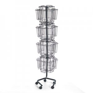 Safco 4128CH Wire Rotary Display Racks, 32 Compartments, 15w x 15d x 60h, Charcoal SAF4128CH