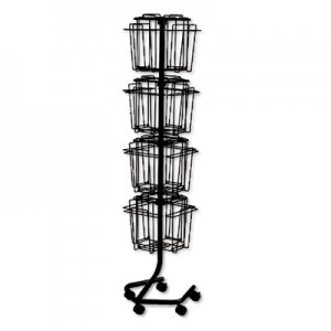 Safco 4139CH Wire Rotary Display Racks, 16 Compartments, 15w x 15d x 60h, Charcoal SAF4139CH