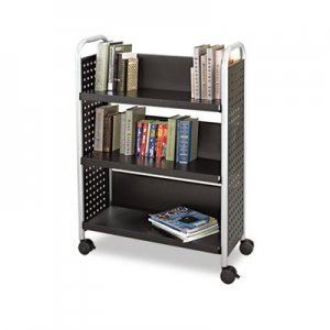 Safco 5336BL Scoot Book Cart, Three-Shelf, 33w x 14-1/4d x 44-1/4h, Black SAF5336BL