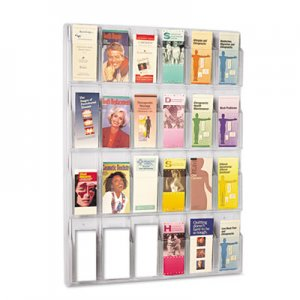 Safco 5601CL Reveal Clear Literature Displays, 24 Compartments, 30w x 2d x 41h, Clear SAF5601CL